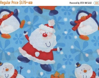 ON SALE Christmas, Santa, Snow Play, Christmas Fabric, Santa Fabric, Blue Fabric, 01815