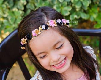 Pink Black Gold Floral Halo First Birthday Crown - WDW Boho Headband Newborn Photo Prop Shabby Chic