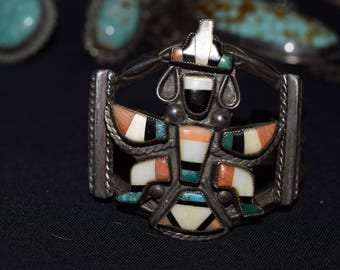 Stunning Vintage Early Zuni Knifewing Inlay Turquoise Spiney Oyster MOP Jet Bracelet For Small Wrist