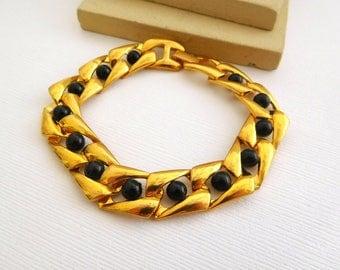 Retro Vintage Modernist Yellow Gold Tone Link Black Bead Accent Bracelet FF11