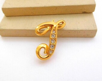 Vintage Avon Gold Tone Rhinestone Initial Letter T Monogram Brooch Pin F13