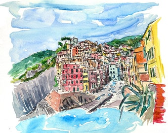 Riomaggiore Cinque Terre View from Mediterranean III - Limited Edition Fine Art Print - Original Painting available