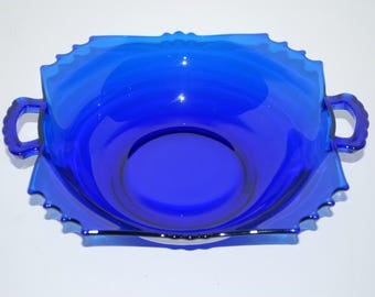 Cobalt blue glass bowl with handles  vintage blue glass  home decor