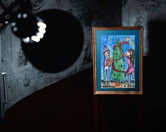 Christmas Art ORIGINAL 5.5x8.5 watercolor on paper // Christmas Tree, Decorate, Bunny, Fox // Trim the Tree // Christmas Decorations
