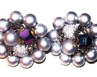 "Beaded Cluster Earrings Blue Crystal & White Beads Signed Japan Silver Metal 1"" Vintage"