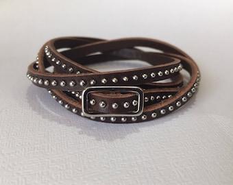 Genuine Leather Wrap Bracelet, Choker! Adjustable Leather Wrap Style, Handmade Boho Rustic Jewelry, Unisex His & Hers