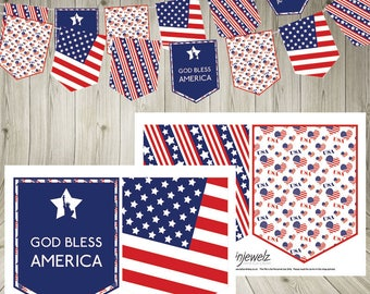 Independence Day 4th July  Bunting Stars and Stripes USA Garland America American flag Instant Download  statue of liberty printable