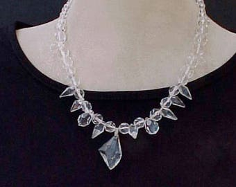 Gorgeous Art Deco Necklace of Crystal Beads in Different Shapes