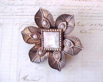 Pretty Vintage Copper Star Flower Shaped Brooch