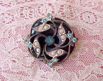 Pretty Little Vintage Black Enameled Brooch with Aqua Rhinestones and Faux Pearls