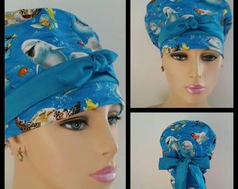Woman Surgical Cap - Ocean Selfies - 100% cotton