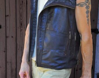 Mens Leather vest Burning man mens biker vest  leather jacket CAMBION