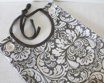 Adult Bib Taupe White Damask Print Commuter Bib Apron Special Needs Senior Gift