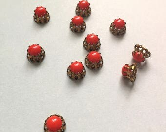 5 x Vintage Swarovski cherry red set cabochons stones in brass pronged settings sew on or charms