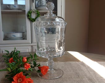 Beautiful Vintage Pedestal Glass Candy Jar // Apothecary JarWith Lid Pretty etched design Fern and Flowers