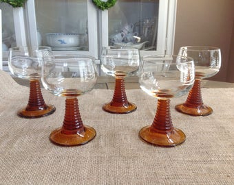 Set of Five Amber Roemer Wine Glasses Made in France