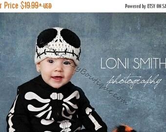 "SUMMER SALE JACK Skellington ""Nightmare Before Christmas"" Hat - Halloween Winter Crochet Baby Newborn Preemie Girl Boy Skull Cap Costume"