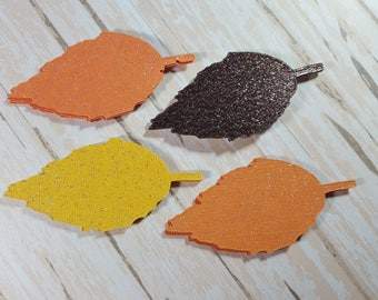 Glitter fall die cut leaves, scrapbook Embellishment card topper leaf tags Thanksgiving decor Autum leaves