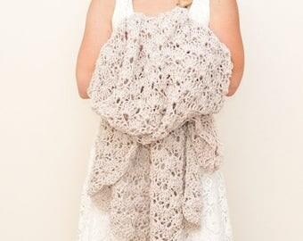 FLASH SALE crochet afghan blanket - linen
