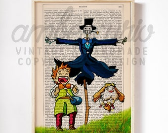 Markel and Turnip Head Howls Moving Castle Studio Ghibli Inspired Print on an Upcycled Unframed Bookpage
