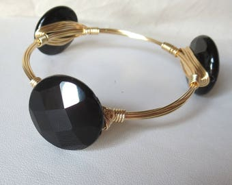 "Black Onyx Bangle Bracelet ""Bourbon and Bowties"" Inspired"