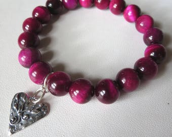 AAA Rose Tigers Eye Stretch Bracelet with Sterling Silver