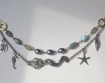 Mermaid Necklace with Ocean Charms, Pearls and Moss Aquamarine