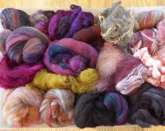 Hope Jacare - Mixed wool pack- custom blended top -  155g hand dyed top and fleece  - MWP22
