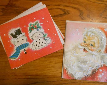 Vintage Christmas cards.  New old stock.  Flocked snow.