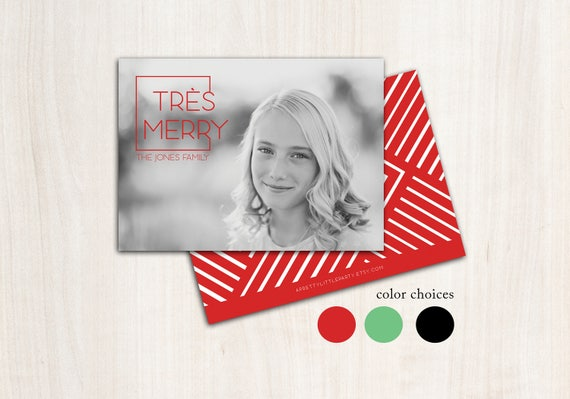 Très Merry Christmas Photo Card - Holiday Cards - Printed Double Sided