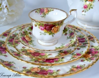 Royal Albert Old Country Roses 5 Piece Place Setting,  Bone China English Tea Cup Set, Replacement China