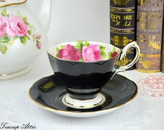 Royal Albert Black Old English Rose Teacup and Saucer, English Bone China Tea Cup Set, Replacement China, Tea Party, ca 1950-1970