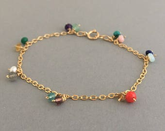 Assorted Stone Gold Bracelet also available in Silver and Rose Gold
