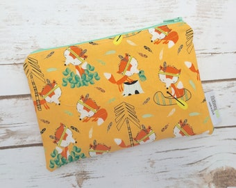 Reusable Snack Bag ~ Zippered Pouch ~ Favor Bag ~ Goody Bag ~ Eco Friendly in Lets Go Foxes Light Orange