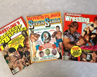 1977 Professional Wrestling Magazines Set of Three, Sports Review Series, Sports Review, Wrestling's Greatest Battles, Wresting Super Stars