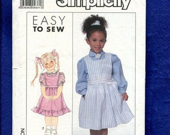 15% OFF SALE 1980's Simplicity 9282 Little Girl's Pinafore Style Jumper & Blouse Pattern Size 3