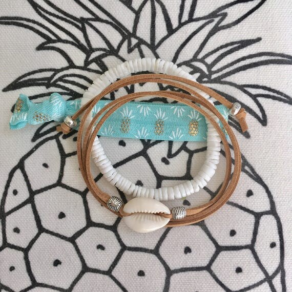 beach jewelry, boho bracelet, beachcomber shell bracelet stack