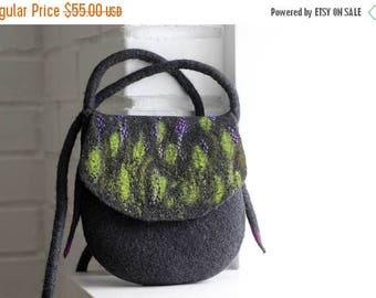 Felt handbag, wool bag, purse, charcoal gray purple cross body bag, shoulder bag, messenger bag, felted purse, gift for her, stylish gift