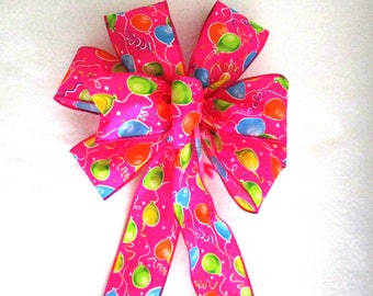 Birthday Bow, Happy Birthday Bow, Party Decoration, Balloons