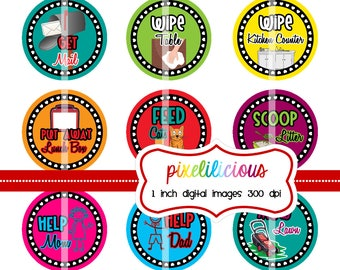 Chore Chart Digital Bottle Cap Images - BRIGHT 1 - Chore Chart with 45 Chores -  1 Inch Digital Collage - Instant Download