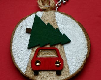 Car and tree Christmas ornament, art on wood slice, hand made, nature, natural, birch wood slice ornament, Christmas Eve, round art