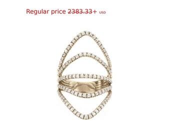 Summer Sale! Curvy Diamond Skin Diamond Ring, Diamonds Shield Lace Diamond Ring, handmade by Silly Shiny Diamonds.