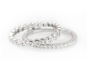 2 Thin Diamond Eternity Ring Set Eternity Wedding Band with Diamond Bubbles Eternity Ring / Eternity Dainty Diamond Bands.