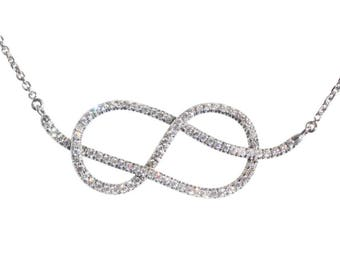 Large Infinity Knot Diamond Necklace- Silly Shiny Diamonds Etsy- Wedding Diamond Necklace- Love Knot Diamond Necklace