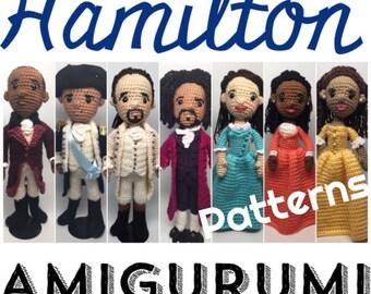 Hamilton Musical Amigurumi Crochet dolls Pattern Set