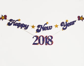 Happy New Year Banner, Felt Garland, Banner, Ready to ship