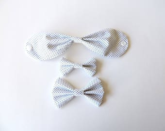 White with Black Polka Dots Fabric Bow Hair Clips or Bow Ties - dainty and Dapper - White and Black