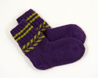 Knitted Wool Socks - Dark Purple, Size Small
