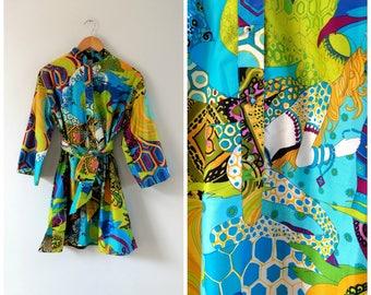 Vintage 1960s 60s hippie psychedelic tunic dress, mermaid print, hippie dress tunic, medium / large