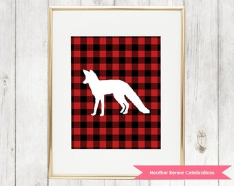 Woodland Nursery Fox Printable | Lumberjack Wall Art | Red Buffalo Plaid Print Instant Download